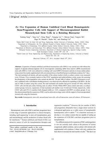 Ex Vivo Expansion of Human Umbilical Cord Blood Hematopoietic ...