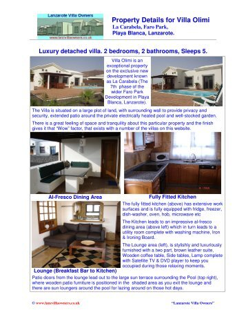 Property Details For Villa Olimi La Carabela, Faro - Lanzarote Villa ...