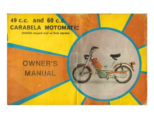49 c c  and 60 c  CARABELA MoToM'hTn: - Project Moped Manual