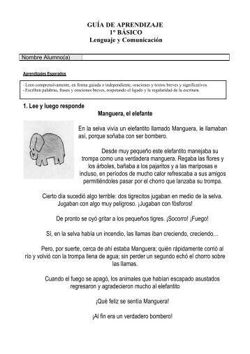 GUÍA DE APRENDIZAJE 1° BÁSICO Lenguaje y Comunicación 1 ...