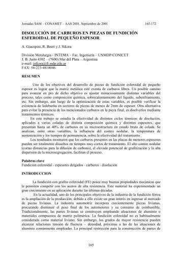 DISOLUCIÓN DE CARBUROS EN PIEZAS DE FUNDICIÓN ...