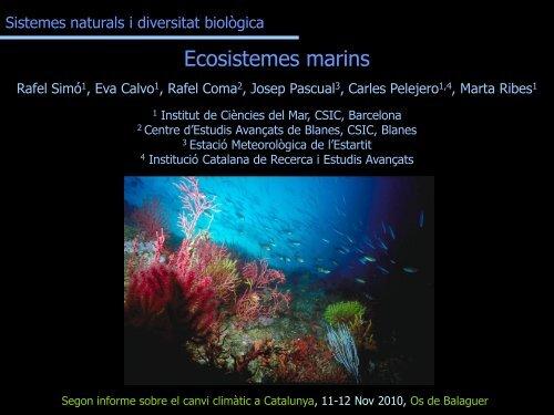 Ecosistemes marins - Generalitat de Catalunya
