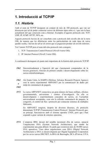 1. Introducció al TCP/IP 1.1. Història - La Salle
