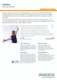 Amadeus e-Ticket Server Info Sheet