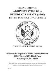 administration of a decedent's estate (adm) - District of Columbia ...