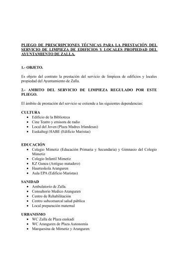 Pliego de Prescripciones Técnicas - Ayuntamiento de Zalla