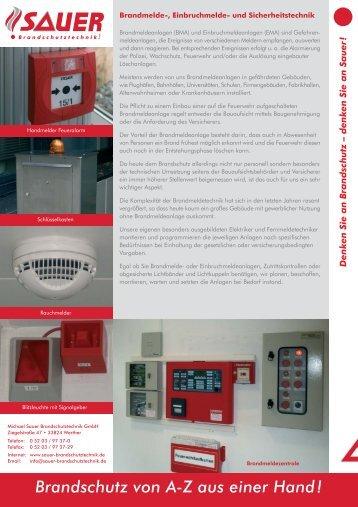 Flyer Brandmeldetechnik.FH11 - Sauer Brandschutztechnik