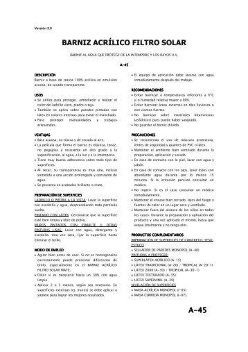 A-45 BARNIZ ACRÍLICO FILTRO SOLAR - Pinturas Monopol