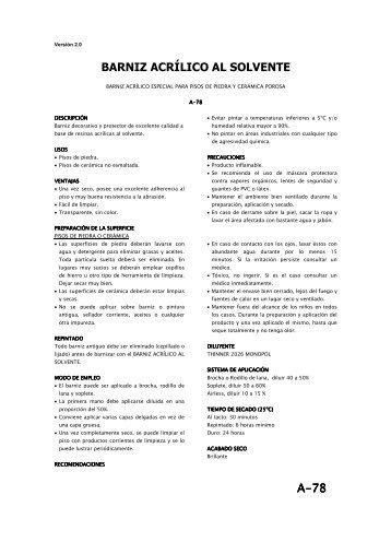 A-78 BARNIZ ACRÍLICO AL SOLVENTE - Pinturas Monopol