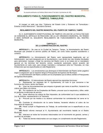 reglamento para el funcionamiento del rastro municipal tampico ...