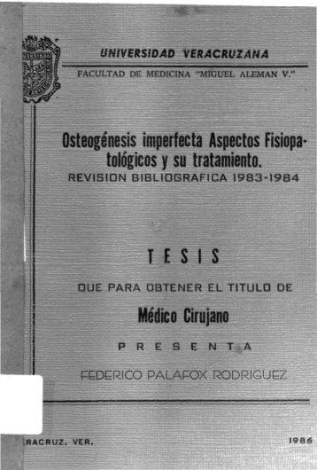 Osteogénesis imperfecta Aspectos Fisiopa - Universidad Veracruzana