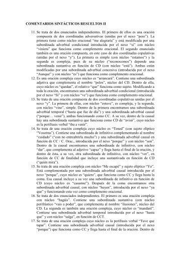 COMENTARIOS SINTÁCTICOS RESUELTOS II (La casa de ...