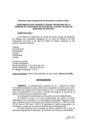 111-12 Suspensión obra nueva - Colegio de Abogados de Málaga