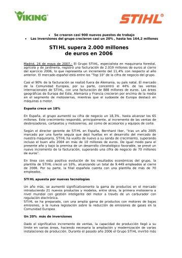 La facturación del grupo ascendió a 318 millones euros, un 4 ... - Stihl