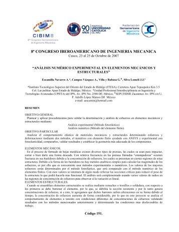 análisis numérico experimental en elementos mecánicos