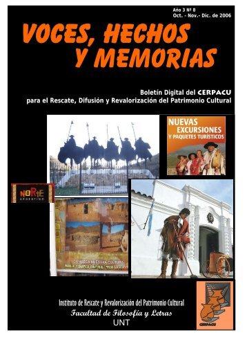 """Descargue el Boletín del CERPACU """"Voces, Hechos y Memorias""""."""