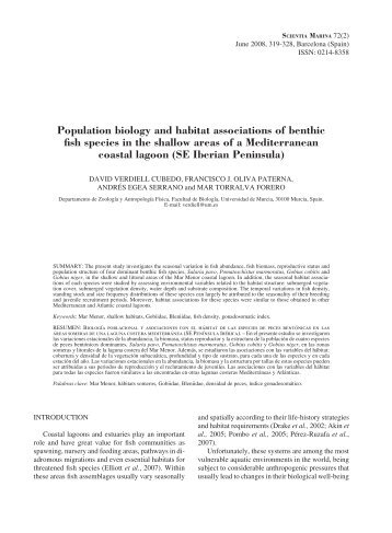 Population biology and habitat associations of benthic fish species ...
