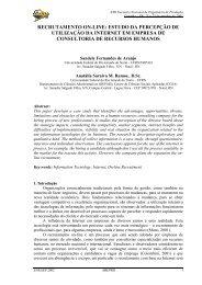Recrutamento on-line: estudo da percepção de utilização ... - Abepro