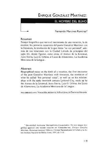 Enrique González Martínez: el hombre del búho / Fernando ...