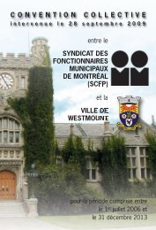 Convention collective - Ville de Westmount 2006-2013