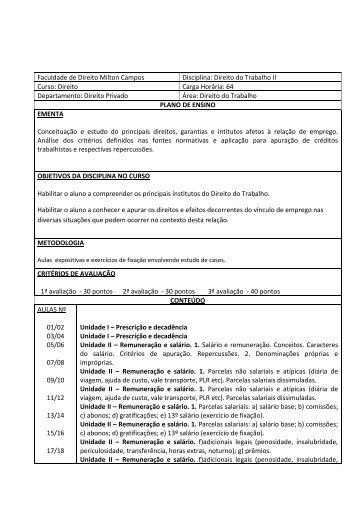 018 - Programa de Direito do Trabalho II.pdf - Milton Campos
