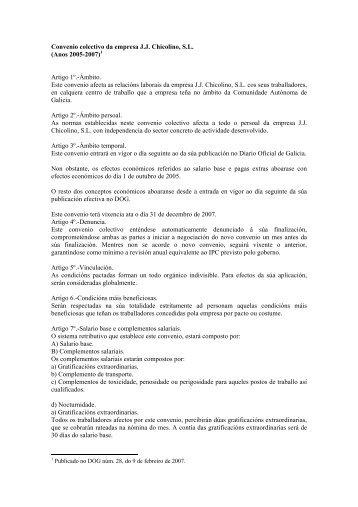 Convenio colectivo da empresa JJ Chicolino, SL (Anos 2005 ... - CIG