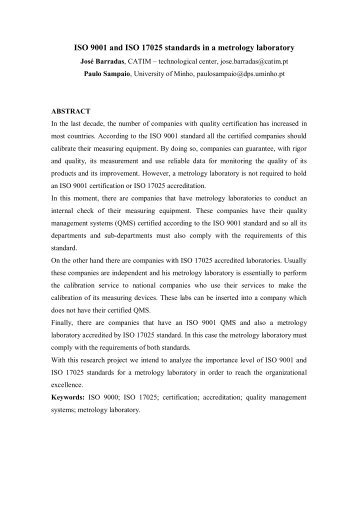 ISO 9001 or ISO 17025 - Universidade do Minho