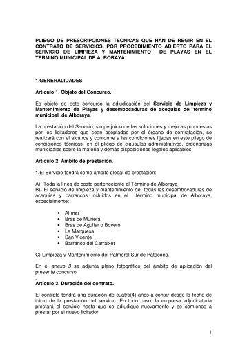 1 PLIEGO DE PRESCRIPCIONES TECNICAS QUE HAN ... - Alboraya