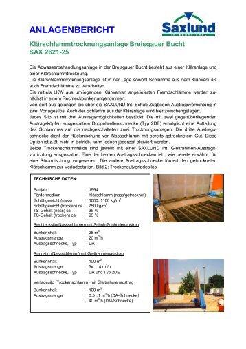 Anlagenbericht Breisgauer Bucht - Saxlund-international.de