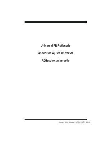 Universal Fit Rotisserie Asador de Ajuste ... - Char-Broil Grills
