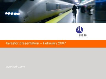 Investor presentation – February 2007