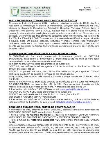 Boletim enviado em 02 de agosto para as - Prefeitura Municipal de ...