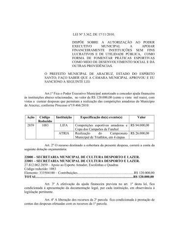 DECRETO Nº - Prefeitura Municipal de Aracruz