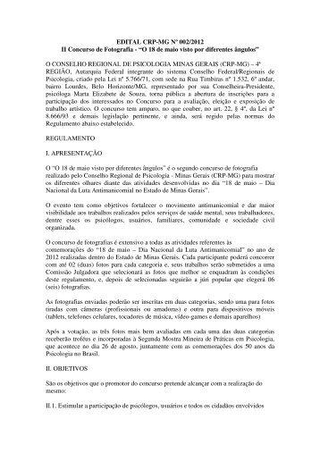 EDITAL CRP-MG Nº 002/2012 II Concurso de Fotografia - Conselho ...