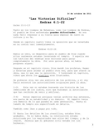"""""""Las Victorias Difíciles"""" Esdras 6:1-22 - Sermon Audio"""