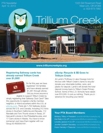 Issue 13: April 12, 2013 - Trillium Creek PTA