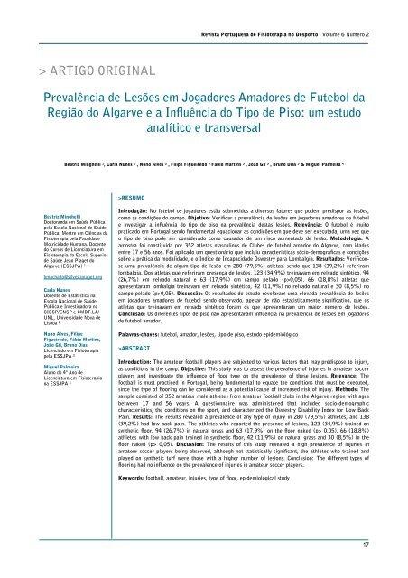 Prevalência de Lesões em Jogadores Amadores de Futebol da ... 57c36e1f35c52