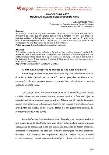 AMADORES DA ARTE: MULTIPLICIDADE DE ... - Anpap