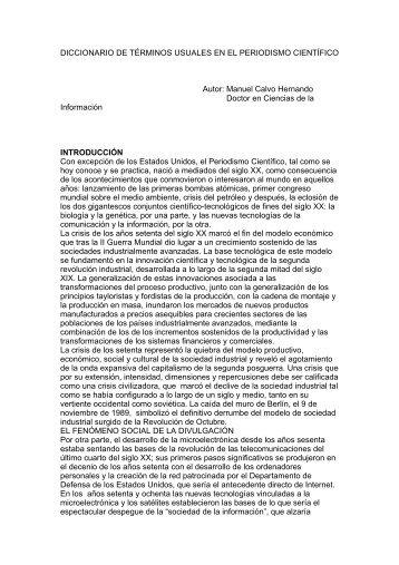 Diccionario de términos usuales en periodismo cientifico