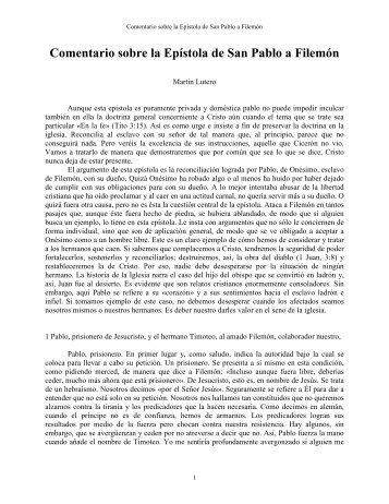 Comentario a Filemón - Martín Lutero - Escritura y Verdad