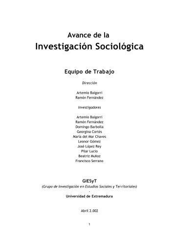 Investigación Sociológica - Grupo de Investigación en Estudios ...