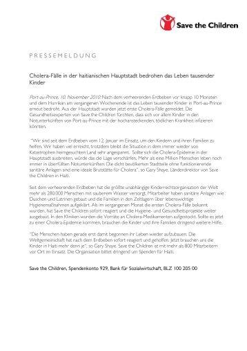 Cholera-Fälle in der haitianischen Hauptstadt ... - Save the Children