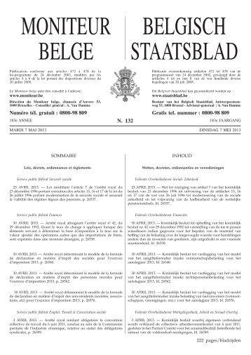 MONITEUR BELGE BELGISCH STAATSBLAD