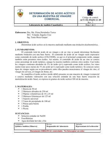 Determinación de ácido acético en una muestra de vinagre comercial