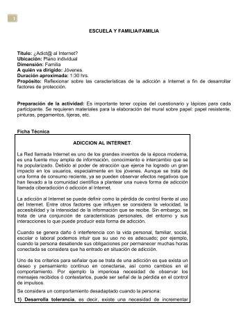 1 ESCUELA Y FAMILIA/FAMILIA Título: ¿Adict@ al ... - CETI Colomos