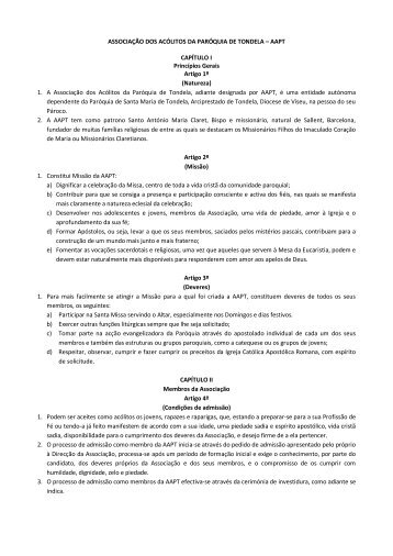 ASSOCIAÇÃO DOS ACÓLITOS DA PARÓQUIA DE TONDELA ...