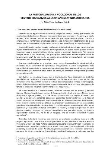 La Pastoral Juvenil - Vocacional - Colegio San Agustín de Iquitos