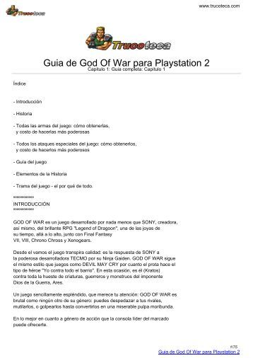 Guia de GOD OF WAR para Playstation 2 - Trucoteca.com