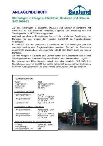 Anlagenbericht Kläranlagen Glasgow - Saxlund-international.de