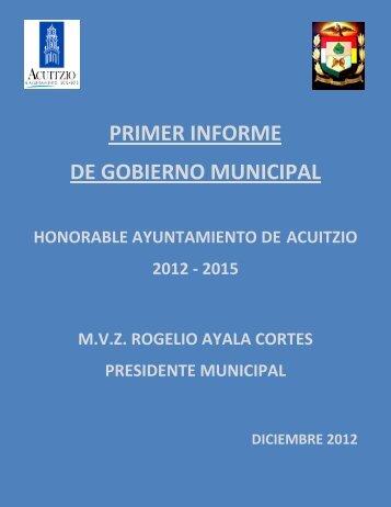 PRIMER INFORME DE GOBIERNO MUNICIPAL - Acuitzio